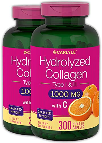 Hydrolyzed Collagen 1000 mg 600 Caplets - Type 1 and 3 - Grass Fed, Non-GMO, Gluten Free Supplement - Peptides Advanced with Vitamin C Pills by Carlyle