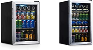 NewAir Beverage Refrigerator Cooler with 90 Can Capacity, Stainless Steel & Beverage Refrigerator Cooler with 126 Can Capacity - Mini Bar Beer Fridge with Right Hinge Glass Door, Stainless Steel