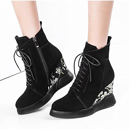 Embroidery Winter Heel Shoelace Women's Round Heels Best Black Toe Boots Wedge Suede Boots Fall Shoes 4U Martin 864qI1
