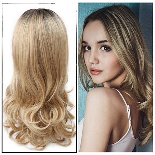 Blonde Wigs Wavy Curly Long Heat Resistant Fiber Cosplay Costume Party Hair Wigs Black Women (Brown) (Gold) ()