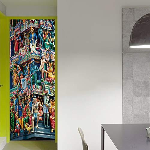 richclassdecor funlife Temple Door Sticker Imitation 3D Living Room Bedroom Wall Stickers Self Adhesive Waterproof Wall Art Posters