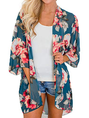 Finoceans Womens Floral Chiffon Kimono Cardigans Loose Beach Cover Up Half Sleeve Tops (XXX-Large, Teal Blue+Floral)