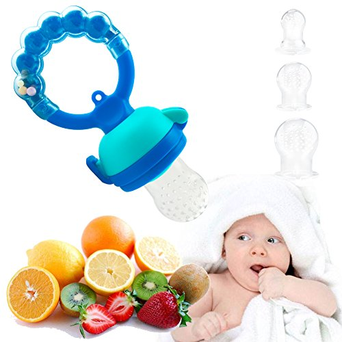 Ring Handle Pacifier (Baby Fresh Food Feeder-Baby Teething Rattle Toy-Baby Fruit Feeder-Rotaing Handle-3 Extra Nipples-S,M,L Size (Blue))
