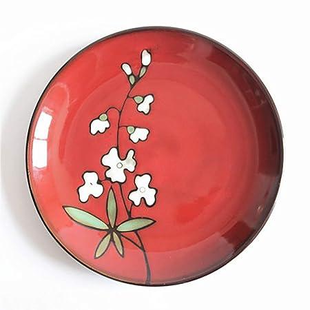 BAIF Plato de Frutas de cerámica roja Retro, Esmalte de Horno ...