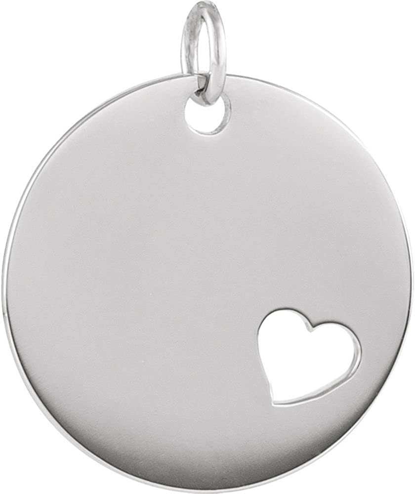 925 Sterling Silver Engravable Polished Pierced Love Heart Engravable Disc Pendant Necklace Jewelry Gifts for Women