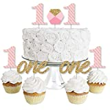 1st Birthday Girl - Fun to be One - Dessert Cupcake Toppers - First Birthday Party Clear Treat Picks - Set of 24
