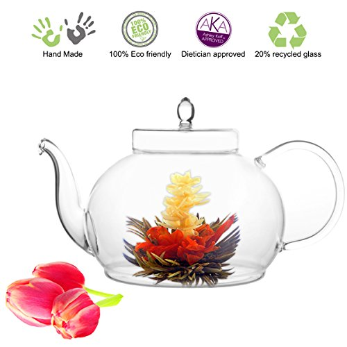 Tea Beyond Large Blooming Tea Glass Teapot Polo, 45oz/1330ml Stainless Steel Strainer Non-Drip Friendship Series