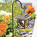 BrylaneHome Butterfly Mosaic Solar Pathway Lantern