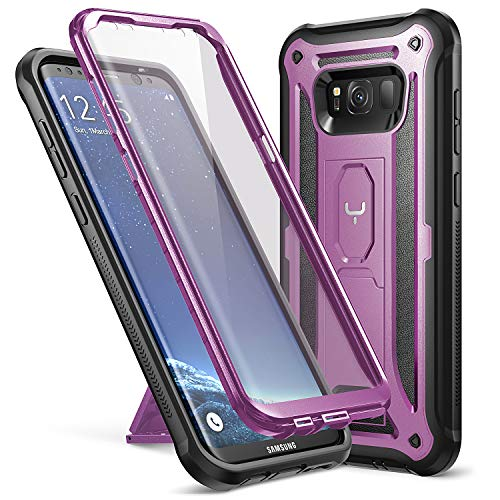 YOUMAKER Kickstand Case for Galaxy S8 Plus, Full Body with Built-in Screen Protector Heavy Duty Protection Shockproof Rugged Cover for Samsung Galaxy S8 Plus (2017) 6.2 inch - Purple/Black