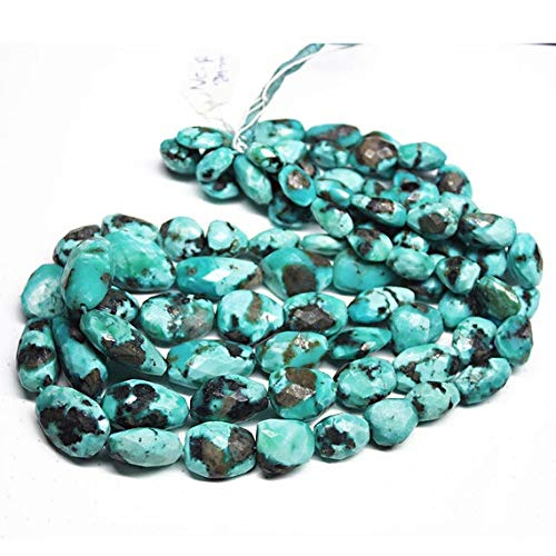 GemAbyss Beads Gemstone Natural Arizona Blue Turquoise Faceted Tumble Nugget Gemstone Craft Loose Beads Strand 16 Inch Long 19mm 10mm ()