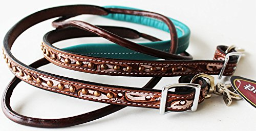 Tack Reins (ProRider Horse 8ft Contest Western Tack Saddle Barrel Leather Reins Brown 6646)