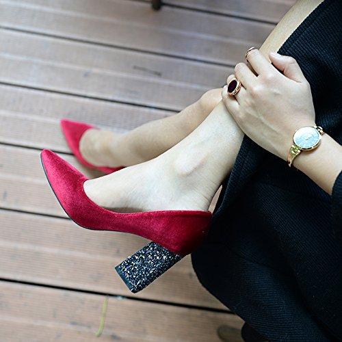 Xue Qiqi high-heel Schuhe Frauen mit fetten schwarzen Spitze Spitze Spitze und vielseitig, mit einem frischen einzelne Schuhe Rot 8 CM a60fc1
