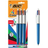 BIC 4-Color Ballpoint Pen, Medium Point (1.0mm), Assorted Inks, 3-Count