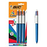 BIC 4-Color Ballpoint Pen, Medium Point (1.0mm), Assorted Inks, 3-Count cover image