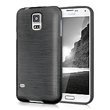 kwmobile TPU SILICONE CASE for Samsung Galaxy S5 / S5 Neo / S5 LTE+ / S5 Duos Design brushed aluminium anthracite transparent - Stylish designer case made of premium soft TPU