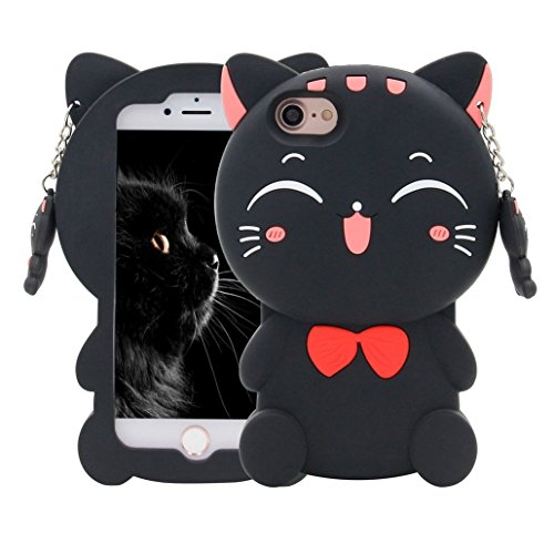 iPhone 4 4S Case,Awin 3D Lucky Fortune Cat with Cute Bow Tie Soft Silicone Rubber Case for iPhone 4 4S (Black Fortune Cat)