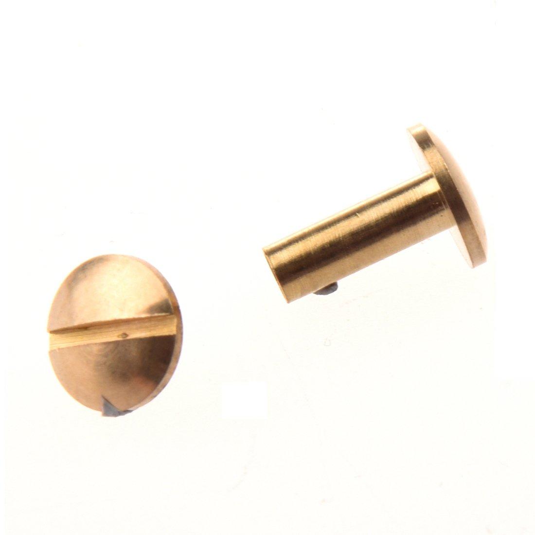 Cikuso 10x Perno del Boton Macizo de Laton de Arco Clavos de Tornillo Tornillo de Vuelta Cinturon de Cuero del Remache 6mm