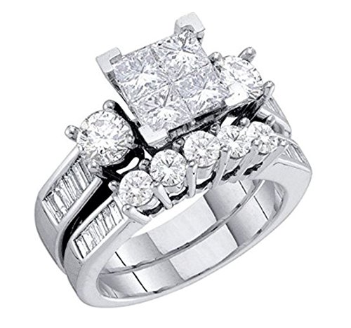 Diamond Brida10K White Gold Engagement Ring / Wedding Ring Set Princess Cut White Gold 10k 2pc Set (1.00cttw, i2/i3, I/j) (white-gold, 8)