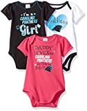 "NFL Carolina Panthers Girls ""Daddy Loves"" Bodysuit (3 Pack), 12 Months, Gray"