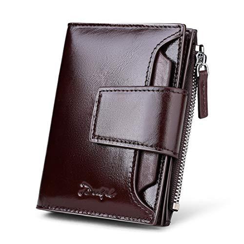 DEELFEL Men & Women RFID Blocking Wallet Small Vintage Crazy Horse Leather Short Purse Bifold black by DEELFEL