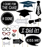 Glitter Graduation Photo Booth Props - 24Ct Party Supplies Decorations - Mortarboards Diplomas Ornaments