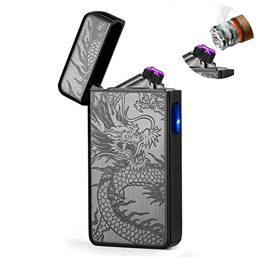 Electric Lighter Plasma Windproof Arc Lighter USB Rechargeable Electronic Lighter for Cigar,Cigarette,Candle (Black Dragon)