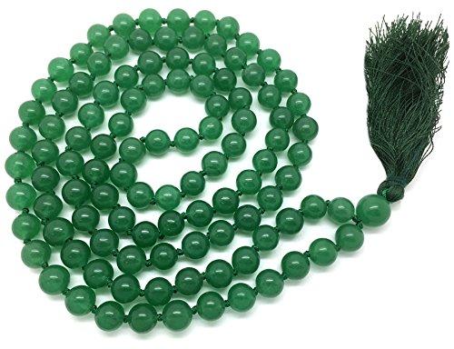 Vert aventurine Japa Mala 108 perles de 6 mm de large, avec noeuds entre les deux, plus 1 grosse perle de gourou, 32 pouces de longueur, avec de vraies pierres précieuses