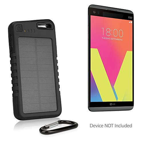 LG V20 Battery, BoxWave® [Solar Rejuva PowerPack (5000mAh)] Solar Powered Backup Power Bank for LG V20 - Jet Black