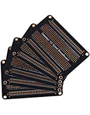 GeeekPi Förpackning med 5 st Proto Breadboard PCB-bräda guldpläterad experimentell brödbräda dubbelsidig PCB DIY-kit för Arduino (halvstorlek)