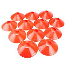 Set of 12 Field Disc Cones made from soft plastic by Crown Sporting Goods (Orange)