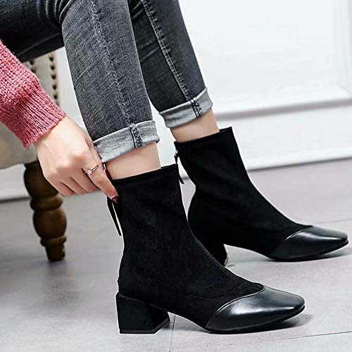 IWxez IWxez IWxez Damenmode Stiefel PU (Polyurethan) Herbst & Winter Casual Stiefel Blockabsatz runde Form Mitte der Wade Stiefel Schwarz Khaki 3dc84d