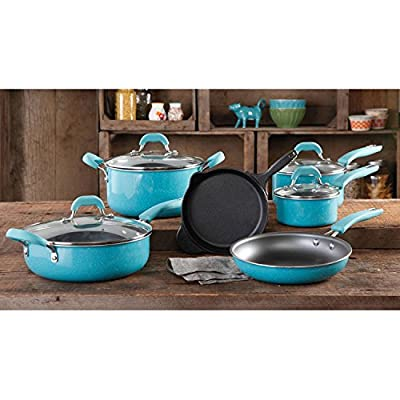 The Food Network Premium Cookware Set Nonstick 10 Piece, Specially Pre-Seasoned, Turquoise