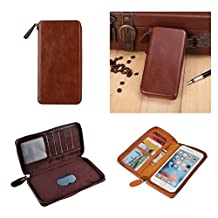 DFV mobile - Executive Wallet Case with Magnetic Fixation and Zipper Closure for => ACER LIQUID JADE Z, S57 > Coffee