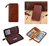 DFV mobile - Executive Wallet Case with Magnetic Fixation and Zipper Closure for => ZTE BLADE A2S > Coffee