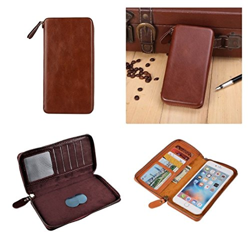 DFV mobile - Executive Wallet Case with Magnetic Fixation and Zipper Closure for => DIGMA VOX S504 3G > Coffee