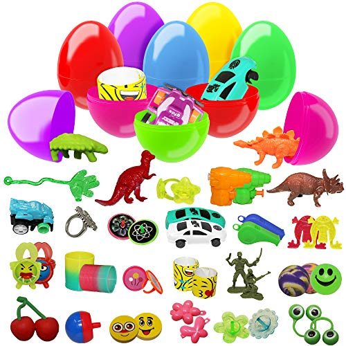 (The Twiddlers 100 Toy Prefilled Plastic Easter Egg Assortment - Surprise Easy Snap Hinged Eggs for Easter Theme Parties, Basket Fillers Stuffers, Egg Hunt Hunting Toys Party Favors, Classroom Prize)
