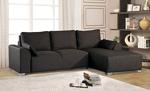 """2 Piece Sectional With Chaise - Merax Big 2-piece Sectional Sofa with Chaise, Fabric / 5 Pillows / Metal Legs, Grey,104.7""""L x 64.6""""W x 31.9""""H"""