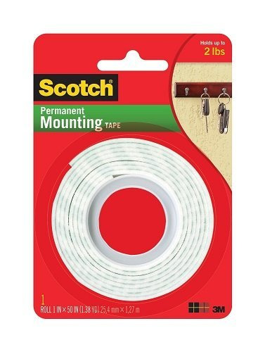 3M Scotch Heavy Duty Mounting Tape, 1-Inch by 50-Inch (Pack of 3) ()