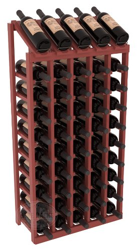 Wine Racks America Ponderosa Pine 5 Column 10 Row Display Top Kit. Cherry Stain + Satin Finish