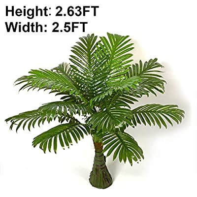 2.63-ft Artificial Palm Leaf Tree Plants Imitation Leaf Artificial Plant Green Greenery Plants Faux FakeTropical Large Palm Leaves Tree Outdoor UV Resistant Plants for Home Kitchen Party Wedding Decor