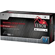 Venom Steel Premium Industrial Black Nitrile Gloves, 6 mil, Great for handling heavy tools, and for auto, landscaping, cleaning, and building tasks