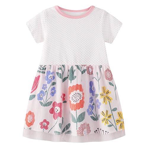 Little Girls Tunic Dress Floral Gauze Skirt Dot Shirt Girls 5T