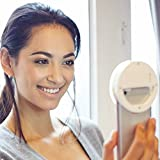 Selfie Ring Light for camera [Rechargeable Battery] Clip on Selfie LED Camera light with 36 LED for ipad, iPhone, Samsung and Other Smart Phones camera Round shape, White