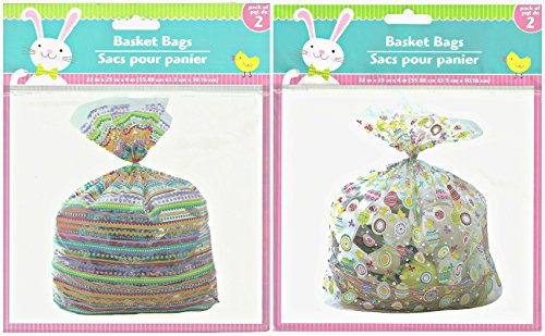 Easter Decorated Gift Basket Cellophane Bags Bundle - 2 Pk 4 22 x 25 Bags (Easter A)