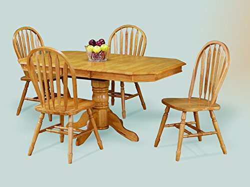 Sunset Trading 5 Piece Clipped Edge Pedestal Extension Dining Set with Arrowback Chairs, Light Oak