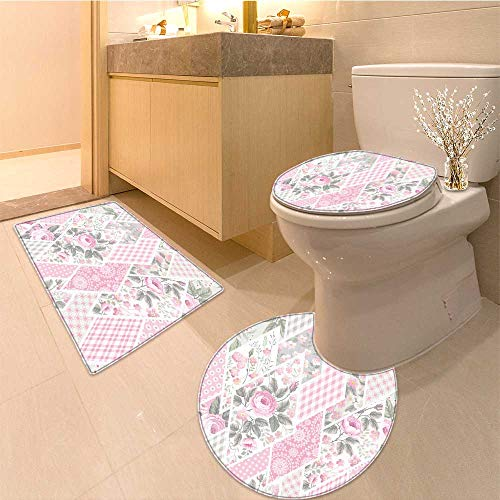 Patchwork Mat Pastel - Miki Da 3 Piece Anti-slip mat set seamless floral patchwork pattern with roses in pastel colors Printed Rug Set