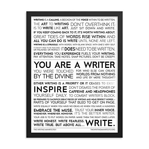 Writing Boost (Writing Quotes Premium Print — Inspiration for Authors, Poets & Wordsmiths to Combat Writer's Block & Boost Creativity; Writing Wall Art; The Writing Manifesto Framed Glossy Poster 18x24)