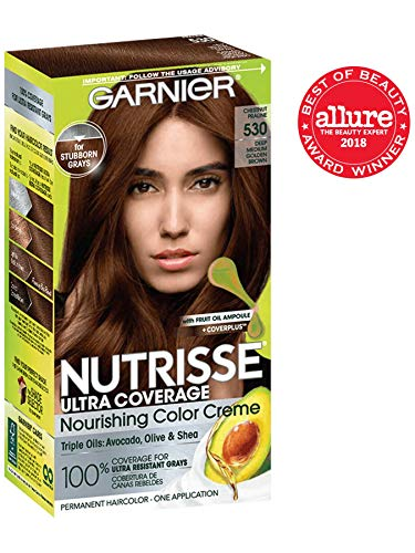 Garnier Nutrisse Ultra Coverage Hair Color, Deep Medium Golden Brown (Chestnut Praline) 530 (Packaging May Vary) - Loreal Golden Brown Hair Color