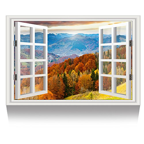 Kreative Arts - Canvas Print Wall Art Window Frame Colorful Forest Landscape Picture Wall Decor Stretched Giclee Print Gallery Wrap Modern for Home Decor Ready to Hang (24''x36'', 22.Autumn)