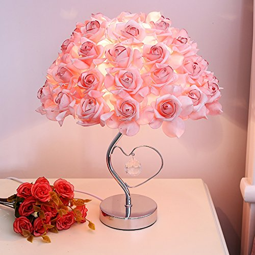 European Style Garden Crystal lamp, Modern Creative Rose Wedding Dress Decorated Bedside lamp, Simple Bedroom Living Room Table lamp (Color : A) ()